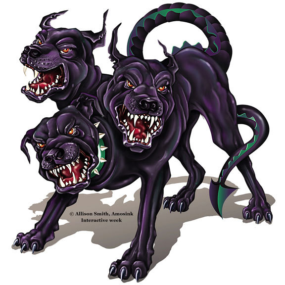 cerebus three headed dog Cerberus is a three-headed canine in greek mythology it is seen guarding the underworld on mythology island the cerberus is an aggressive, three-headed, green canine that has necks related to the hydra.