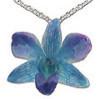 Blue Enamel Orchid Pendant