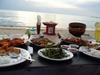 Bali sunset beach seafood dinner